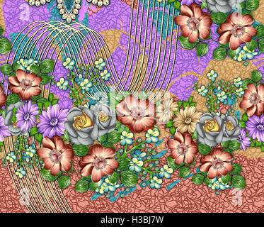 Blumen Frühling nahtlose Muster - Stockfoto
