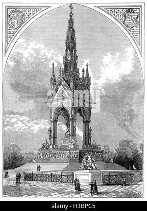 Das Albert Memorial befindet sich in Kensington Gardens, wurde im Auftrag von Königin Victoria in Erinnerung an - Stockfoto