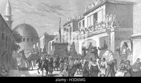 Damaskus muslimische feste Pilger Mekka-Parade Mahwal Heiligen Teppich 1875. Die Grafik - Stockfoto