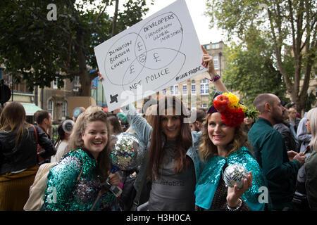 Demo-Save UK Nachtleben folgt die Schließung des Londoner Club Stoff Demonstranten kämpfen um Londons berühmte Orte - Stockfoto