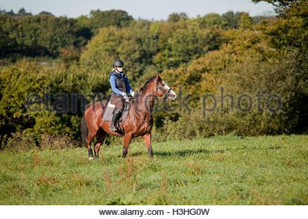 Junge Frau Reiten im Freiland UK - Stockfoto