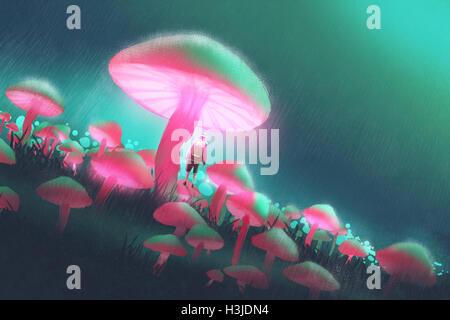 Wanderer-Mann im Wald große Pilze in der regnerischen Nacht, Illustration Malerei - Stockfoto