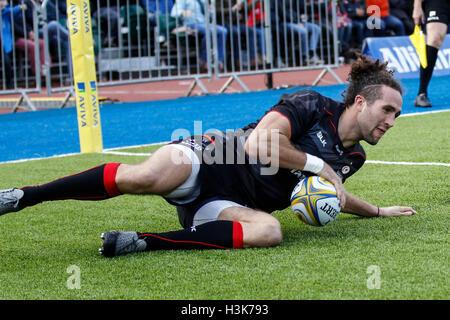 Barnet Copthall, London, UK. 9. Oktober 2016. Aviva Premiership Rugby. Sarazenen gegen Wespen. Mike Ellery Sarazenen - Stockfoto