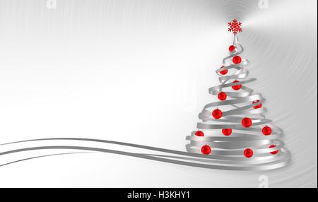 Weihnachtsbaum aus weißen Bänder mit roten Kugeln über Metall Hintergrund. 3D Illustration. - Stockfoto