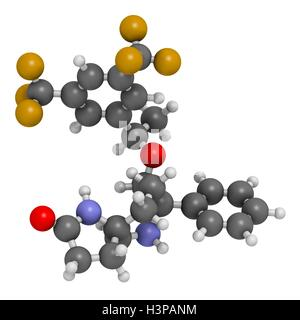 Rolapitant antiemetische Wirkstoffmolekül. Atome werden als Kugeln mit konventionellen Farbkodierung dargestellt: - Stockfoto