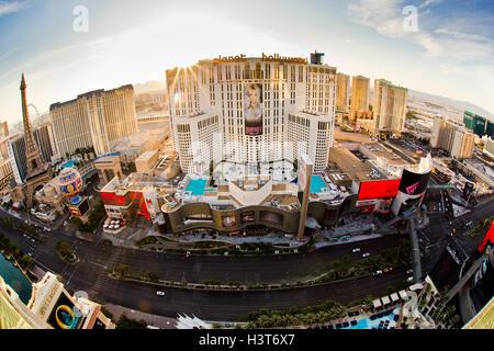 Morgen Blick des Las Vegas Boulevard mit Resort-Casinos im Blick aus Las Vegas Nevada - Stockfoto