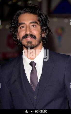 London, UK. 12. Oktober 2016. Dev Patel Teilnahme an der Gala der Löwe am BFI London Film Festival Odeon Leicester - Stockfoto