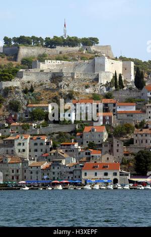 Kroatien, Dalmatien, Sibenik, Blick auf die Stadt, Altstadt, Hafen, Europa, Südostasien, Europa, der Balkan-Halbinsel, - Stockfoto