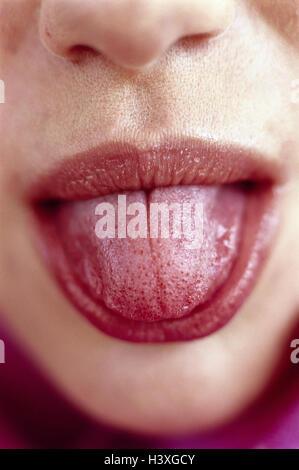 Frau, schauen, detail, Mund, Zunge, Punkt, Close up, ganz