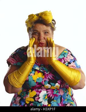 """dicke Frau, Schleife im Haar, Kleid, gelbe Handschuhe, Geste, - """"call"""" mb 152 A7 - Stockfoto"""