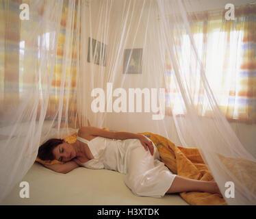 Frau, Bett, schlafen, Moskitonetz, Schlafzimmer, jung, Lüge ...
