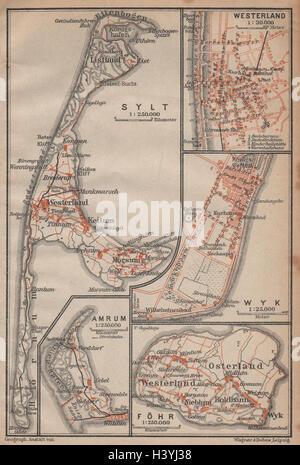 Karte Sylt Amrum.Sylt Und Amrum Deutschland Kartenskizze 1885 Alte Antike Vintage