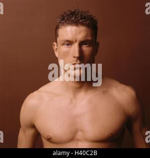 Mann, freien oberen Teil des Körpers, Porträt, jung, Körper, Körper schlank, Männlich, sportlich, Typ, schlank, - Stockfoto