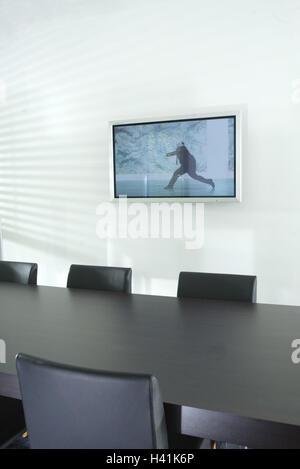 Meeting-Raum, Wand, Flachbildschirm Fernseher, Konferenztisch ...