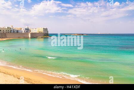 Malerische Aussicht auf Gallipoli Waterfront, Salento, Apulien, Italien - Stockfoto