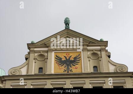 Deutschland, Bayern, Augsburg, Rathaus, Detail, Wappen, Schwaben, Stadt, Ort von Interesse, Gebäude, Struktur, Architektur, - Stockfoto