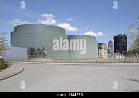 Gaswerk, außen, Bayern, Deutschland, Europa, Straße, Stadt, Augsburg, verlassenen, historisches Baudenkmal, Gebäude, - Stockfoto