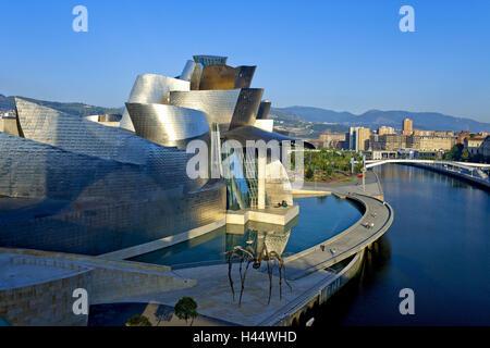 Spanien, Baskenland, Bilbao, Guggenheim Museum, abends Licht, Nordspanien, Museumsbau, Struktur, Architektur, Kunstmuseum, - Stockfoto
