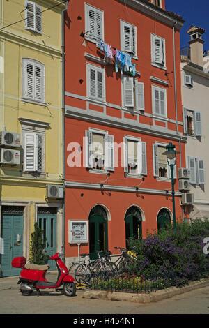 Kroatien, Istrien, Rovinj, Häuser, Fassaden, detail, Europa, Reiseziel, Stadt, Gebäude, Wohnhäuser, Architektur, - Stockfoto