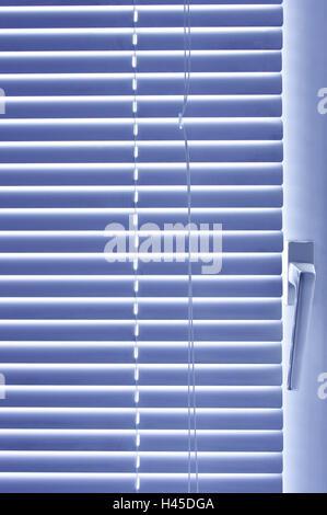 Windows, versiegelt, Jalousie, mittlere Nahaufnahme, Detail, Griff, Fenster-Griff, verdunkelt, verdunkelt, Zimmer, - Stockfoto