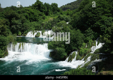 Kroatien, Dalmatien, Sibenik-Knin, Nationalpark Krka Wasserfällen, Skradinski backen, Europa, Balkan-Halbinsel, - Stockfoto