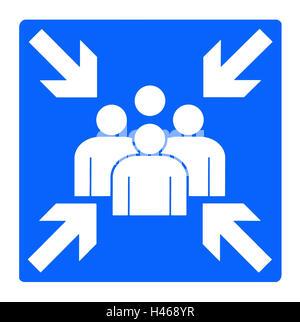 Zeichen, Meetingpoint, Zeichen, blau, Figuren, Tipp, Informationen, Ansprechpartner, treffen, Abbildung, Symbol, - Stockfoto