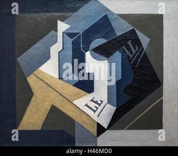 Juan Gris (1887-1927), Stillleben mit Obstteller und Zeitung, 1920. - Stockfoto