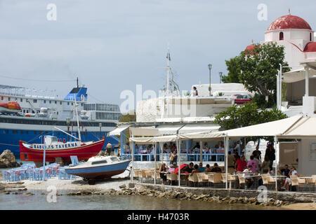 """Griechenland, Cyclades, Mykonos, Mykonos Stadt, Chora, Taverne """"Baboulas"""" im alten Hafen - Stockfoto"""