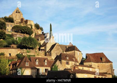 Frankreich, Beynac-et-Cazenac, Dordogne, Häuser, draußen, Europa, Reisen, Natur, Steinhäuser, Gebäude, Wohnhäuser, Aquitaine, Architektur, Landschaft, niemand,