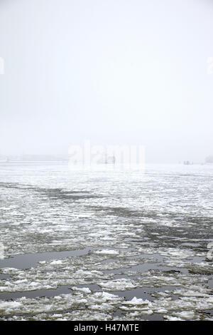 Deutschland, Hamburg, Winter, Hafen, Packeis, - Stockfoto