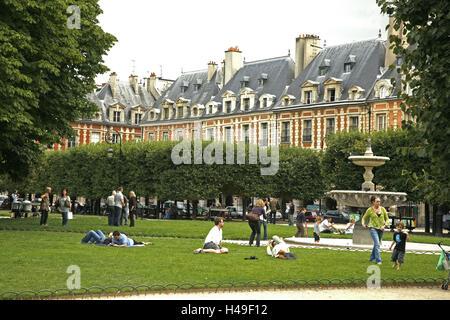 Frankreich, Paris, Marais, Ort, Vogesen, Parken, gut, Passanten, Europa, Stadt, Hauptstadt, Sehenswürdigkeit, strukturieren, - Stockfoto