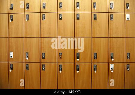 Schließfächer, Lagerung, Schlüssel, Schließfächer, Gepäck, zahlen, viele, Holz, Holz-Schließfächer, Innenaufnahme, - Stockfoto