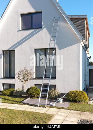 Haus, Fassade, gleiten, hohen, Leiter, - Stockfoto