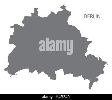 Berlin Deutschland Karte grau - Stockfoto