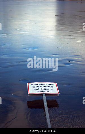 Eisfläche, Zeichen, Gefahr, winter - Stockfoto