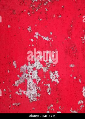 Closeup Aufnahme von gealterten und verfallene Betonoberfläche in rot - Stockfoto