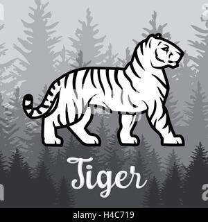 Doppelbelichtung weiße Tiger im Wald-Poster-Design. Vektor-Illustration auf nebligen Hintergrund. - Stockfoto