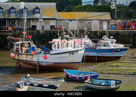 Fischerboote im Hafen von Mevagissey bei Ebbe, Cornwall, England, Großbritannien - Stockfoto