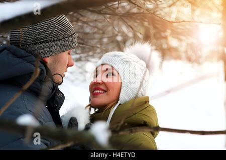 paar auf ein Datum im winter - Stockfoto