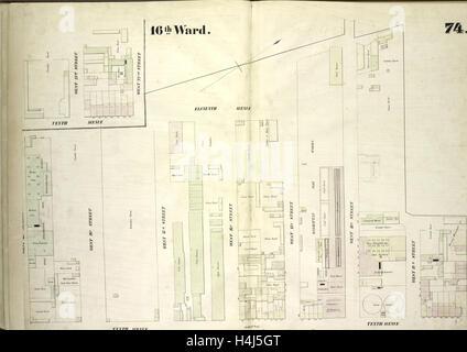 Tafel 74: Karte begrenzt durch elften Avenue, West 20th Street, 10. Avenue, West 13th Street, New York, USA - Stockfoto