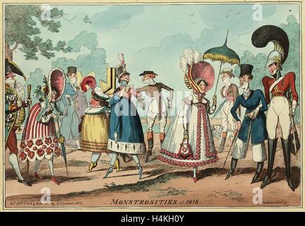 Monstrositäten der 1818, Gravur 1818, ungewöhnliche Kleidung Stile in Herren- und Damen Mode, vor allem Kleider - Stockfoto