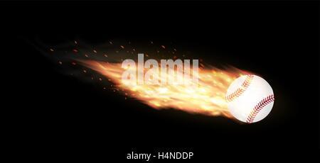 Baseball auf einem schwarzen Hintergrund brennen - Stockfoto