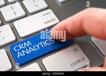 Hand Finger drücken Sie CRM Analytics Tastatur. 3D. - Stockfoto
