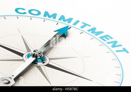Konzeptionelle Kompass mit Nadel zeigt das Wort Engagement. 3D Illustration mit Cian und Beige Tönen. - Stockfoto