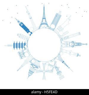 Umriss Reisekonzept auf der ganzen Welt mit internationalen Wahrzeichen. Vektor-Illustration. Wirtschaft und Tourismus - Stockfoto