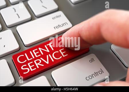Hand Finger Client Service-Taste drücken. 3D. - Stockfoto