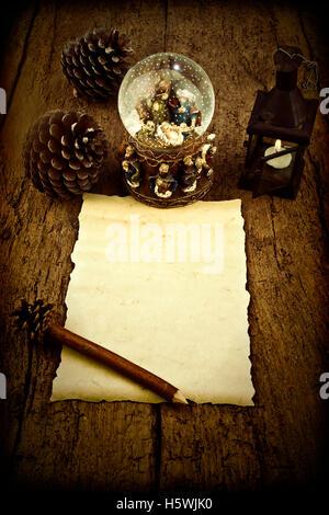 Leeres Pergament schreiben Magi oder ergänzen die Weihnachten Brief - Stockfoto
