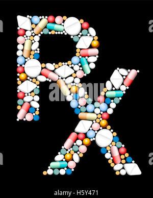 RX - Symbol für ärztliche Verschreibung - bestehend aus Tabletten und Kapseln. - Stockfoto
