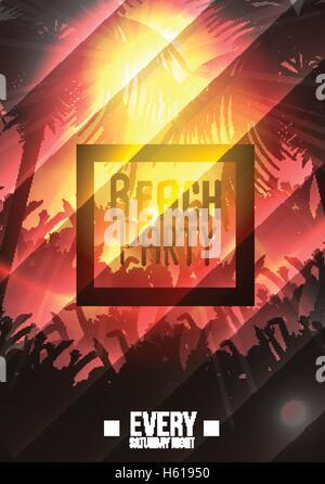 Heiße Sommer Party Poster Nachtdesign mit typografischen Elementen ...