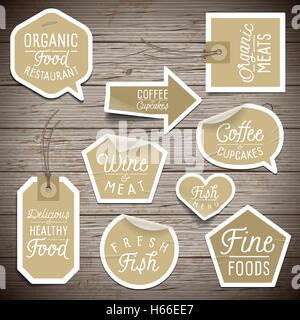 Aufkleber auf rustikalen Holz Hintergrund für Café und Restaurant. - Stockfoto